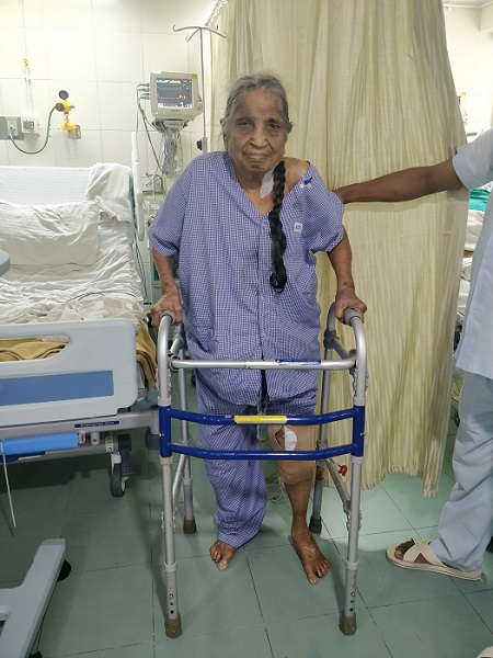 100 Years old Chanchalben Sukhlal Shah after surgery on left side